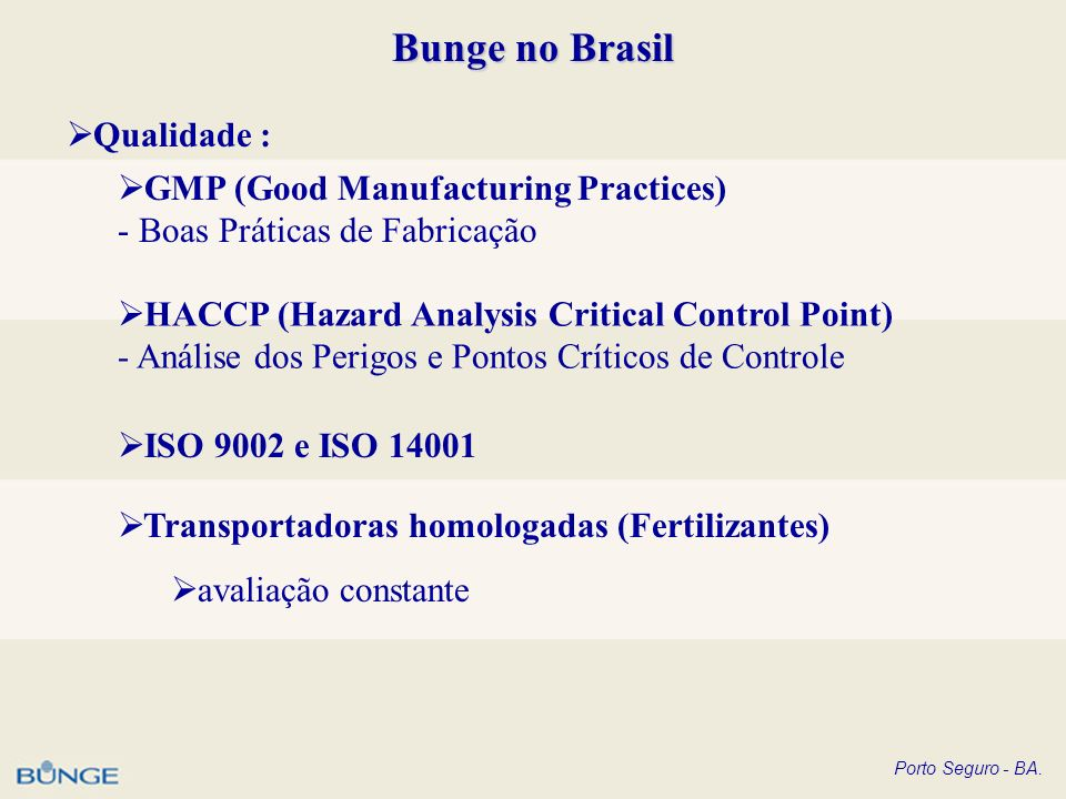 Bunge no Brasil Qualidade : GMP (Good Manufacturing Practices)