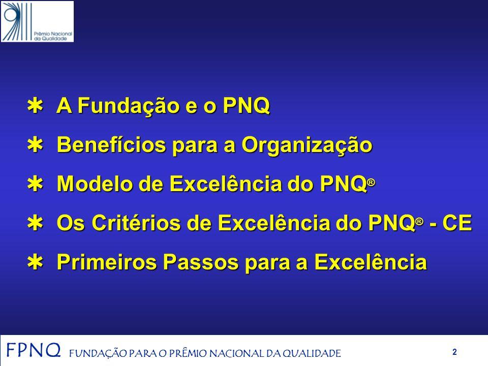 A Fundação e o PNQ Benefícios para a Organização. Modelo de Excelência do PNQ® Os Critérios de Excelência do PNQ® - CE.