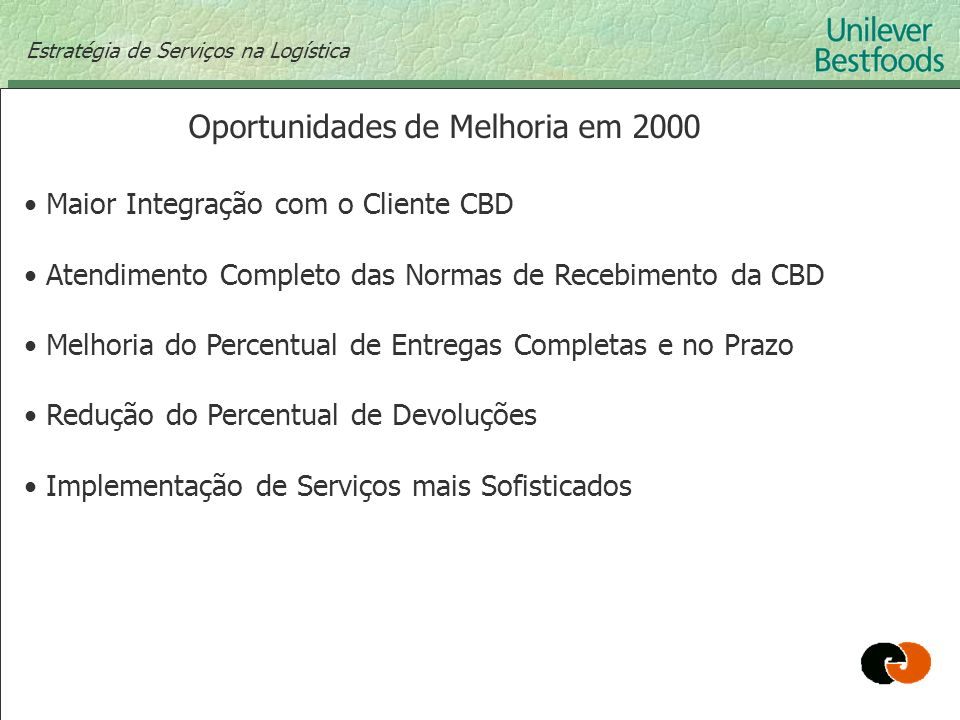 Oportunidades de Melhoria em 2000