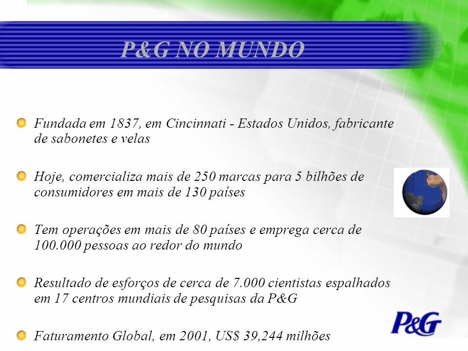 P&G NO MUNDOFundada em 1837, em Cincinnati - Estados Unidos, fabricante de sabonetes e velas.