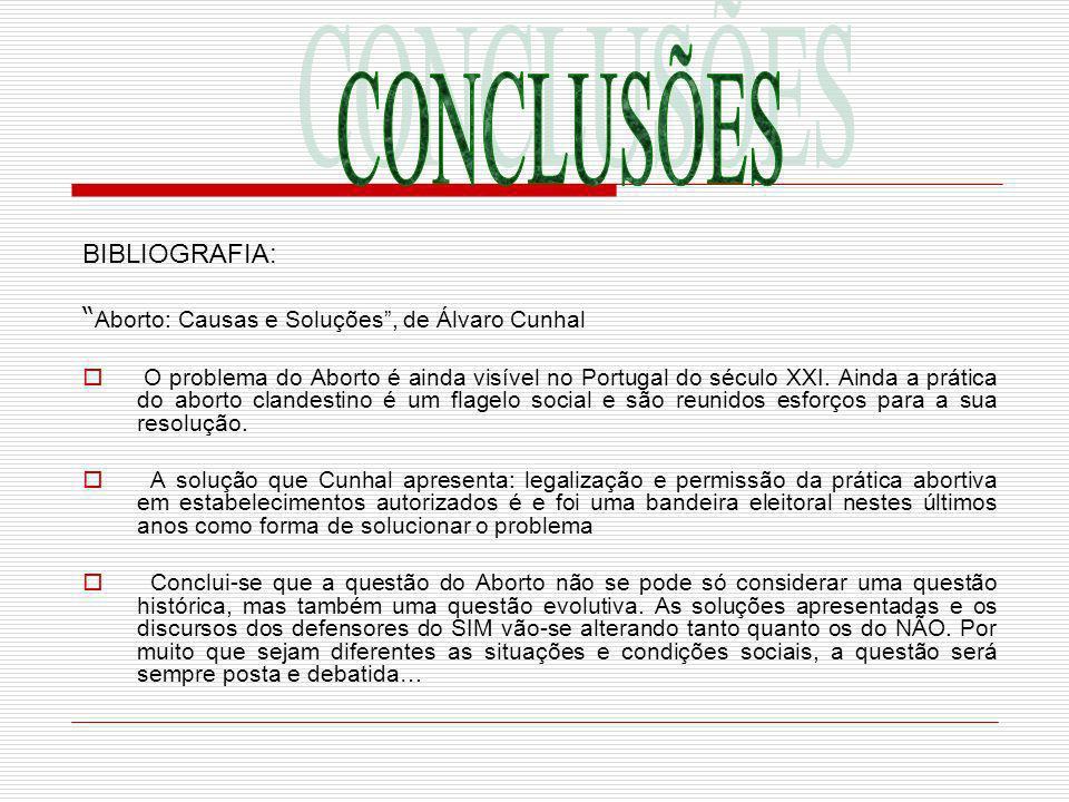 CONCLUSÕES BIBLIOGRAFIA: Aborto: Causas e Soluções , de Álvaro Cunhal