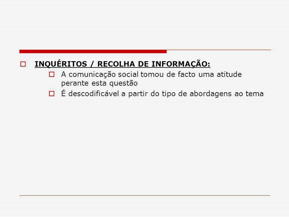 INQUÉRITOS / RECOLHA DE INFORMAÇÃO: