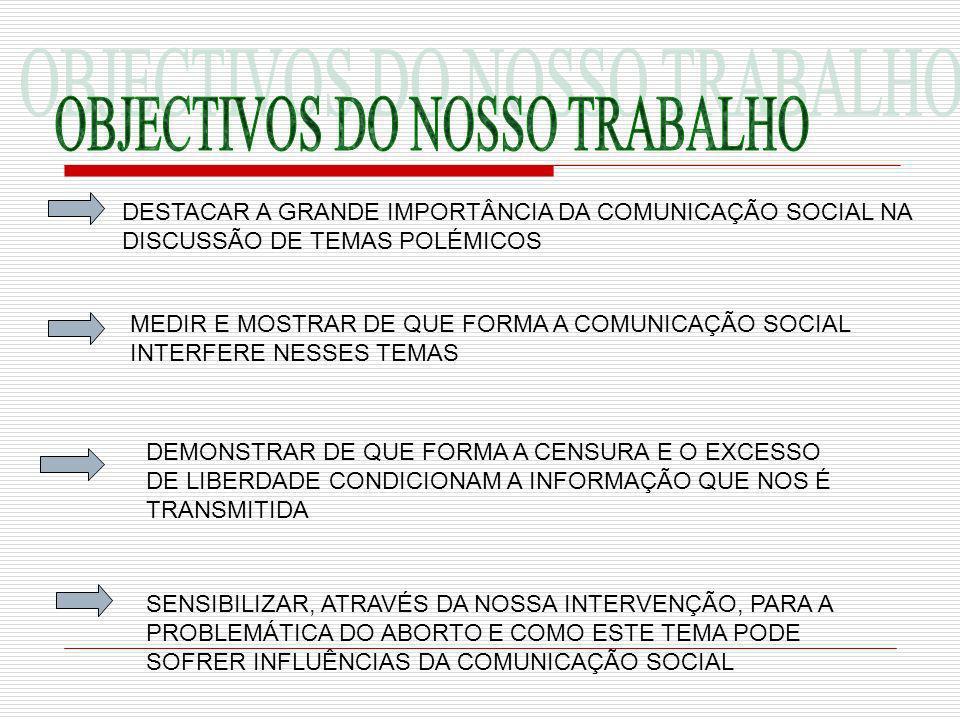 OBJECTIVOS DO NOSSO TRABALHO