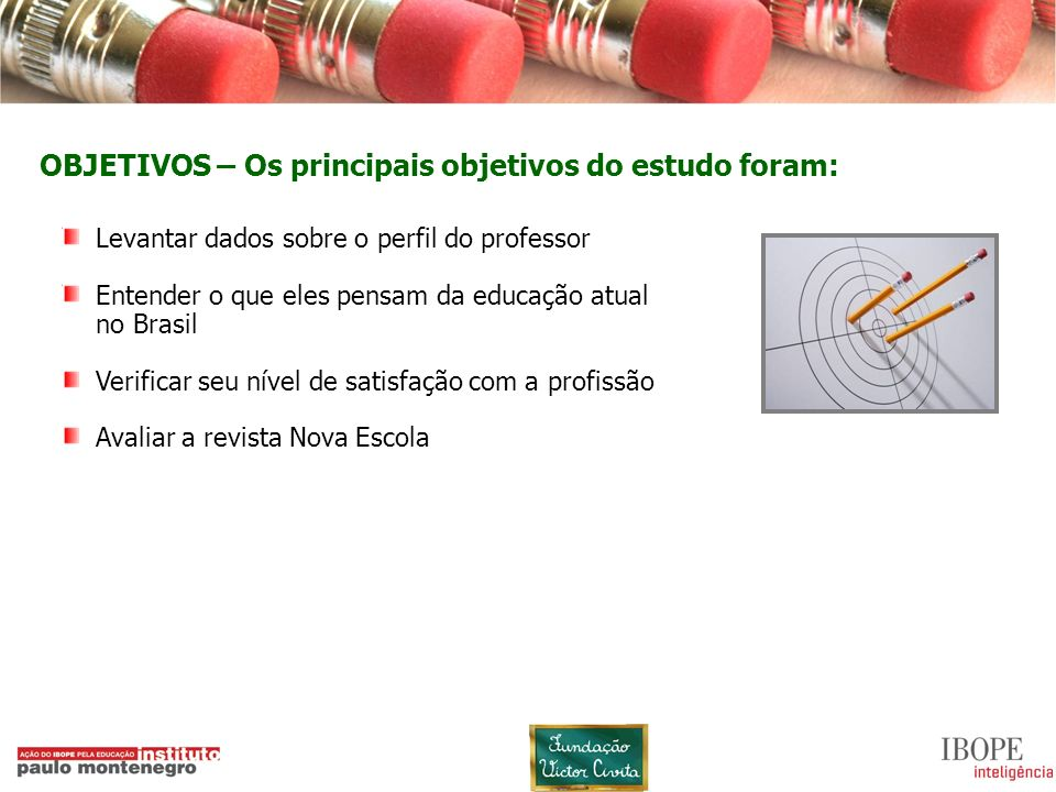 OBJETIVOS – Os principais objetivos do estudo foram: