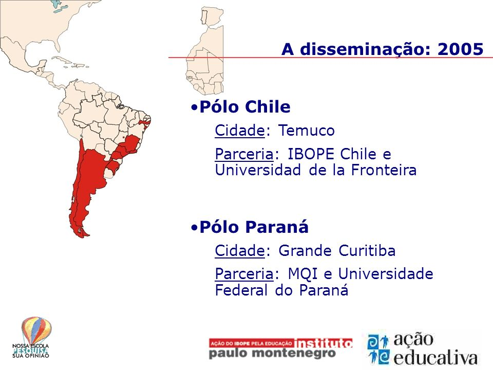 A disseminação: 2005 Pólo Chile Pólo Paraná Cidade: Temuco