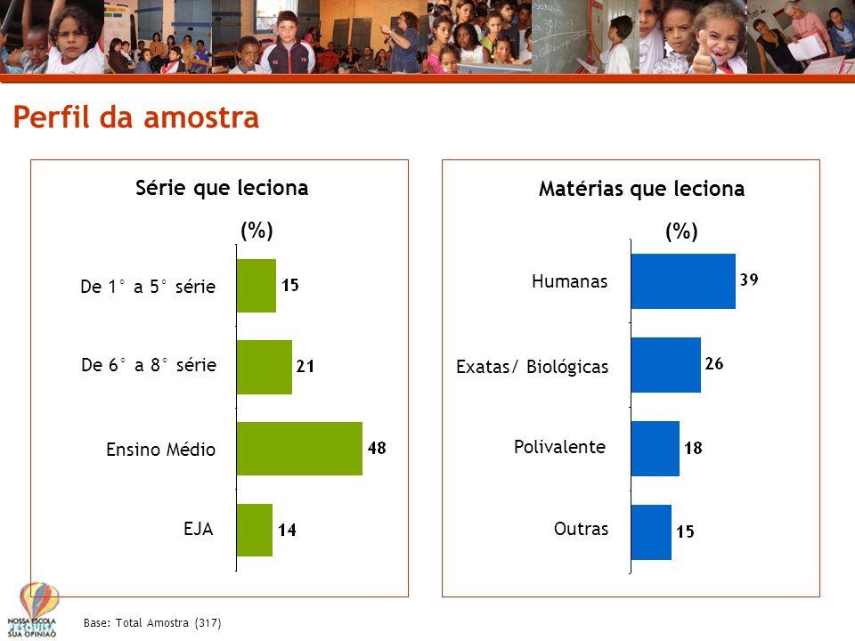 Perfil da amostra Série que leciona Matérias que leciona (%) (%)