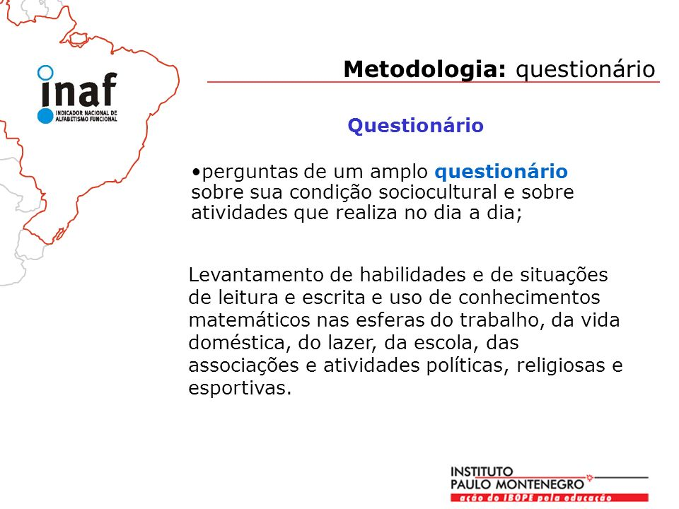 Metodologia: questionário