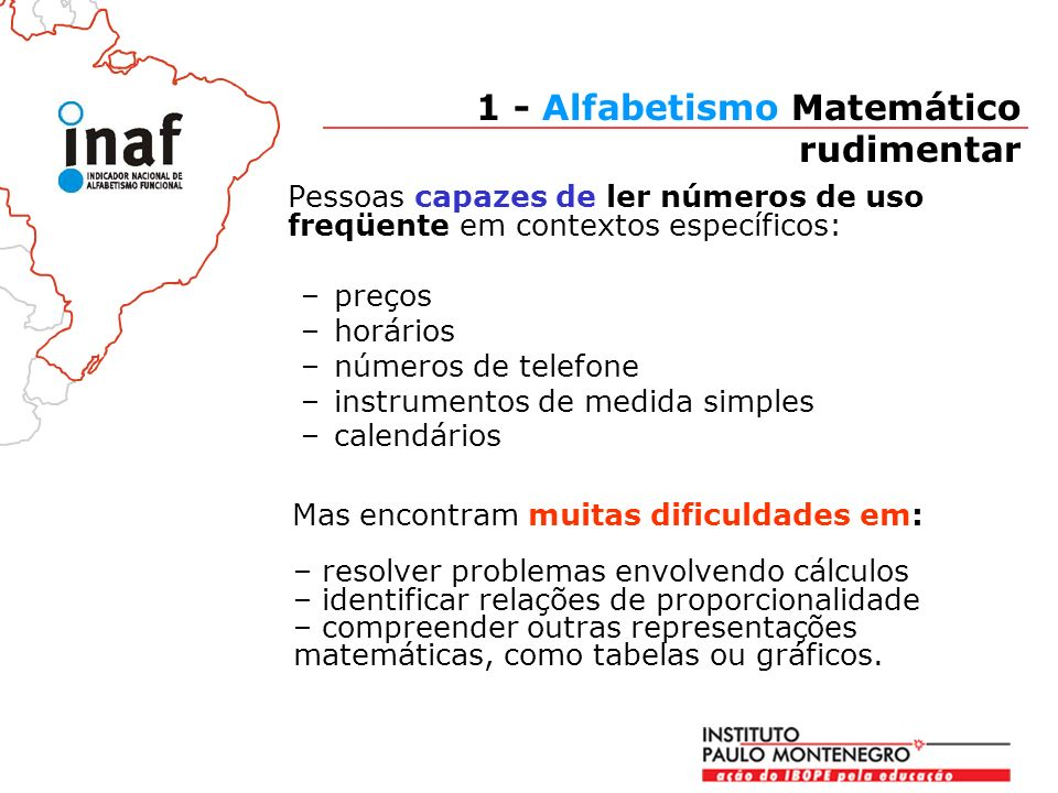 1 - Alfabetismo Matemático rudimentar