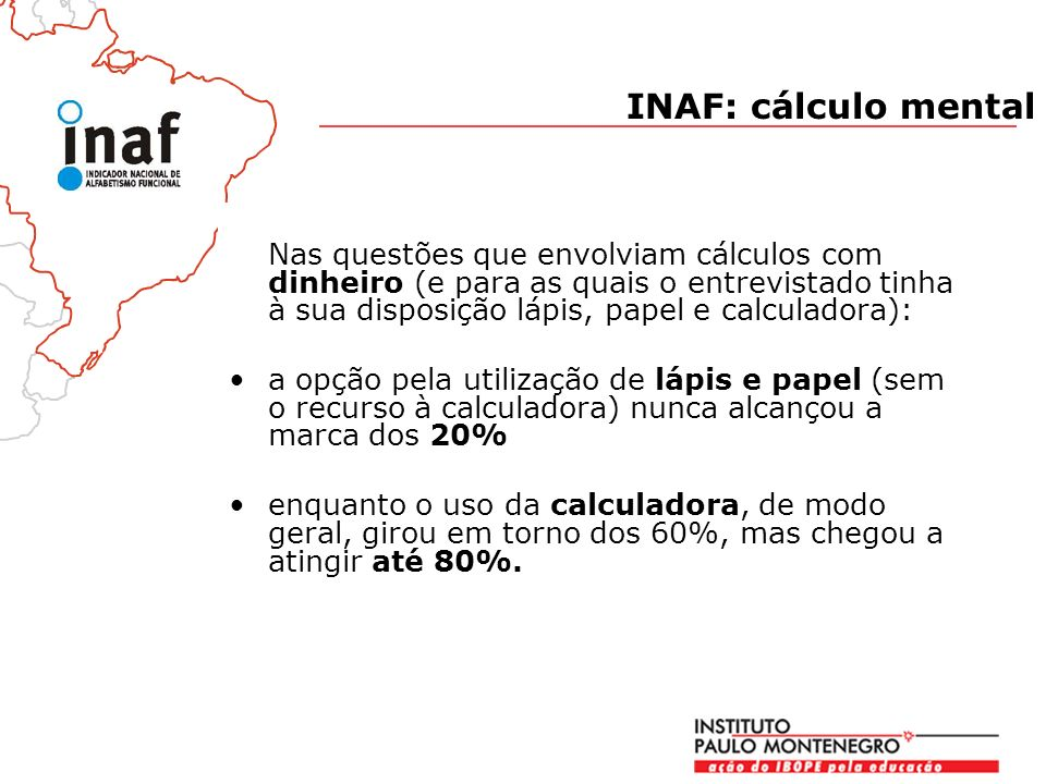 INAF: cálculo mental