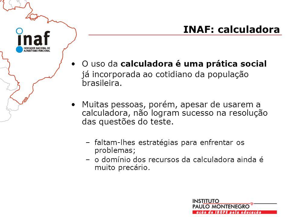 INAF: calculadora O uso da calculadora é uma prática social