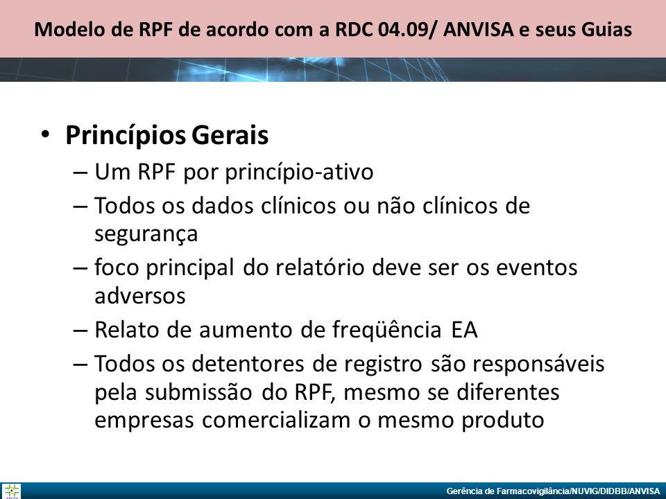 Modelo de RPF de acordo com a RDC 04.09/ ANVISA e seus Guias