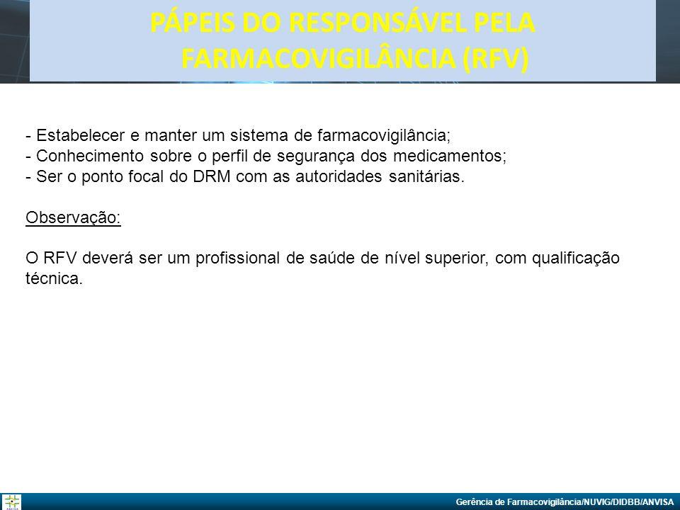 PÁPEIS DO RESPONSÁVEL PELA FARMACOVIGILÂNCIA (RFV)