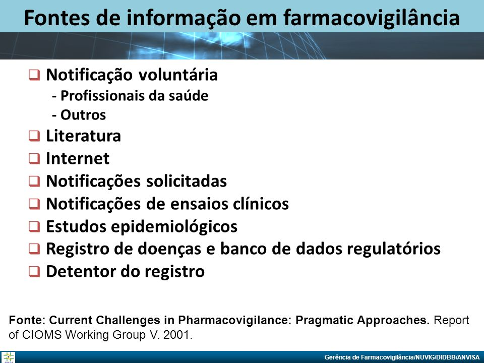 Fontes de informação em farmacovigilância