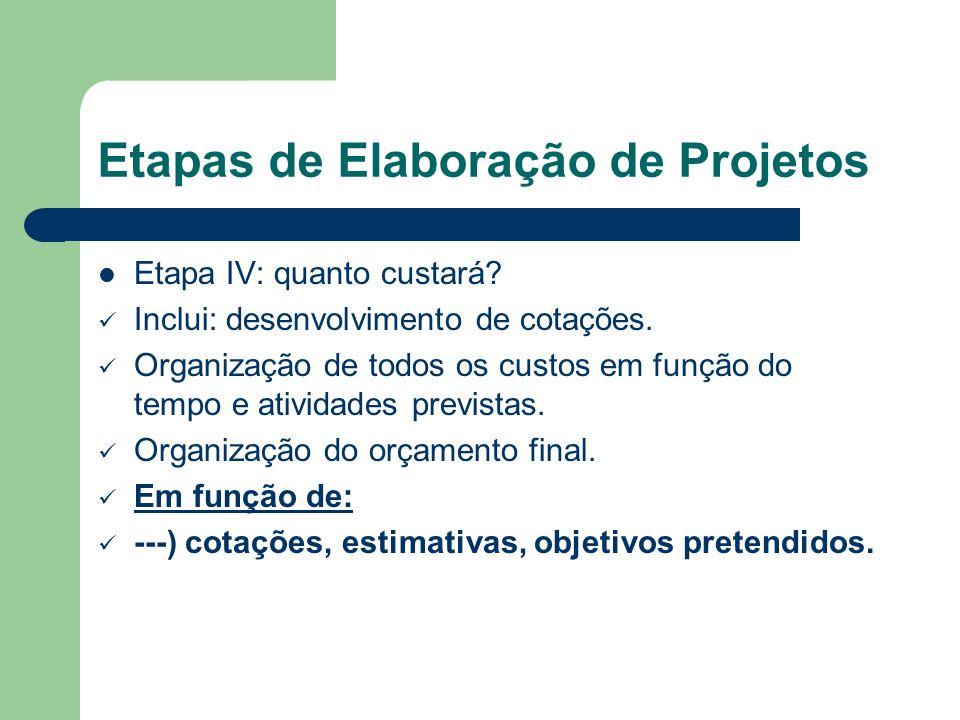 Etapas de Elaboração de Projetos