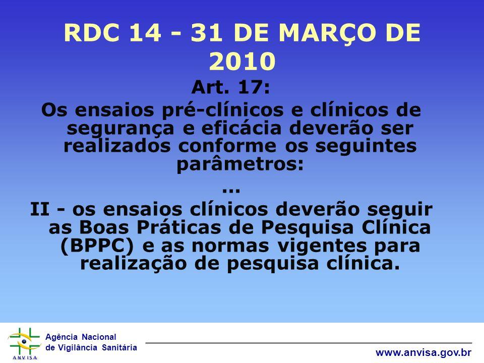 RDC 14 - 31 DE MARÇO DE 2010 Art. 17: