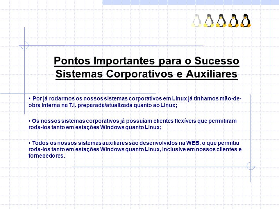 Pontos Importantes para o Sucesso Sistemas Corporativos e Auxiliares