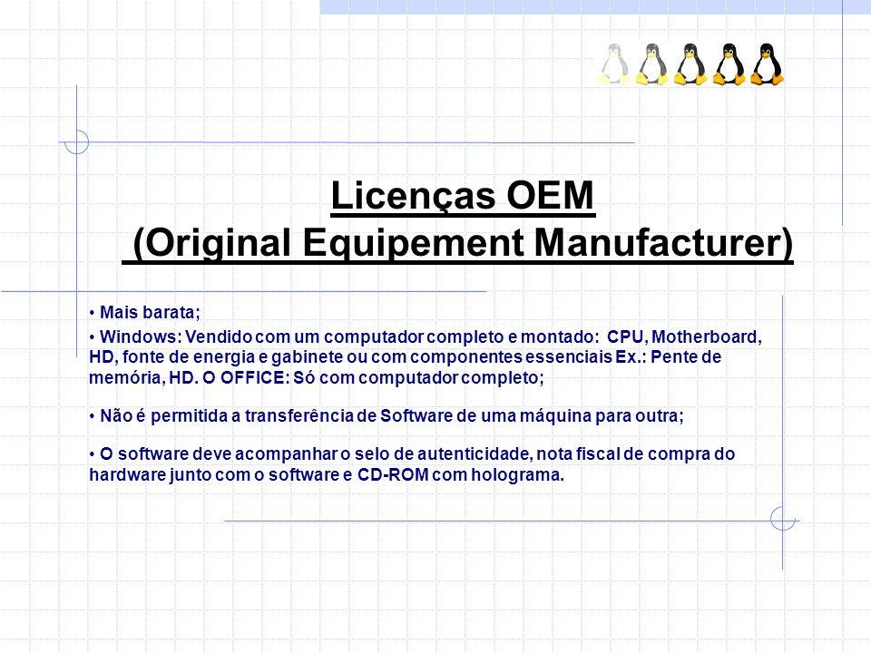 Licenças OEM (Original Equipement Manufacturer)