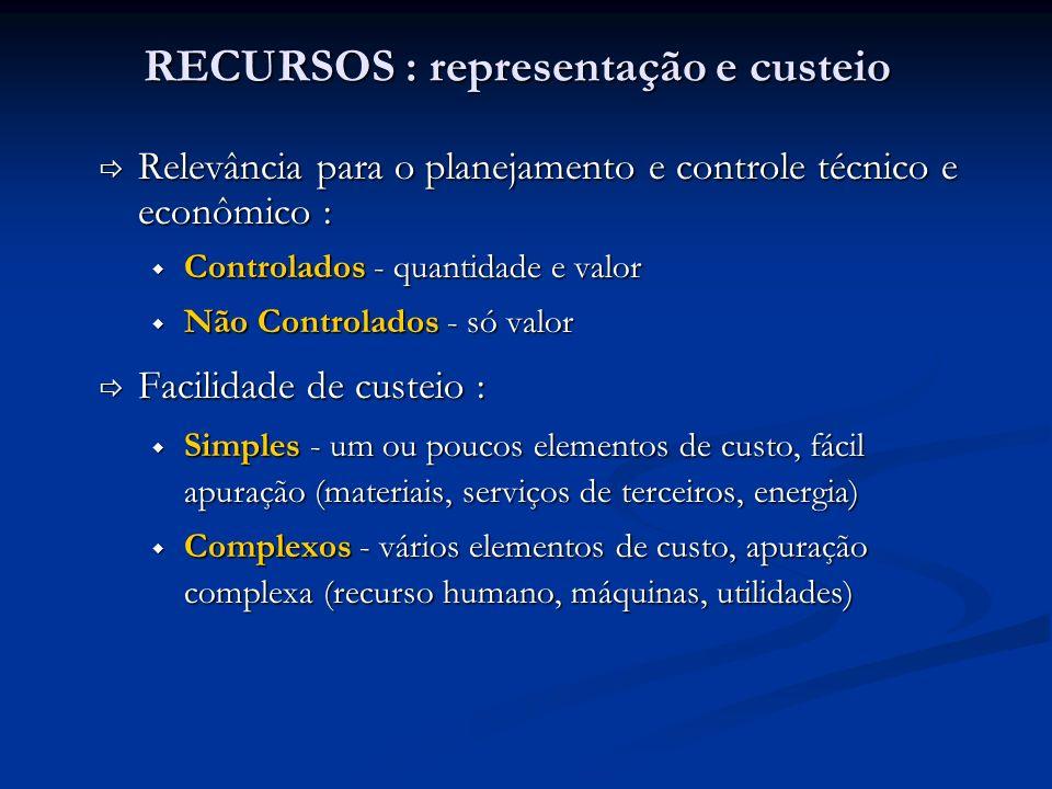 RECURSOS : representação e custeio