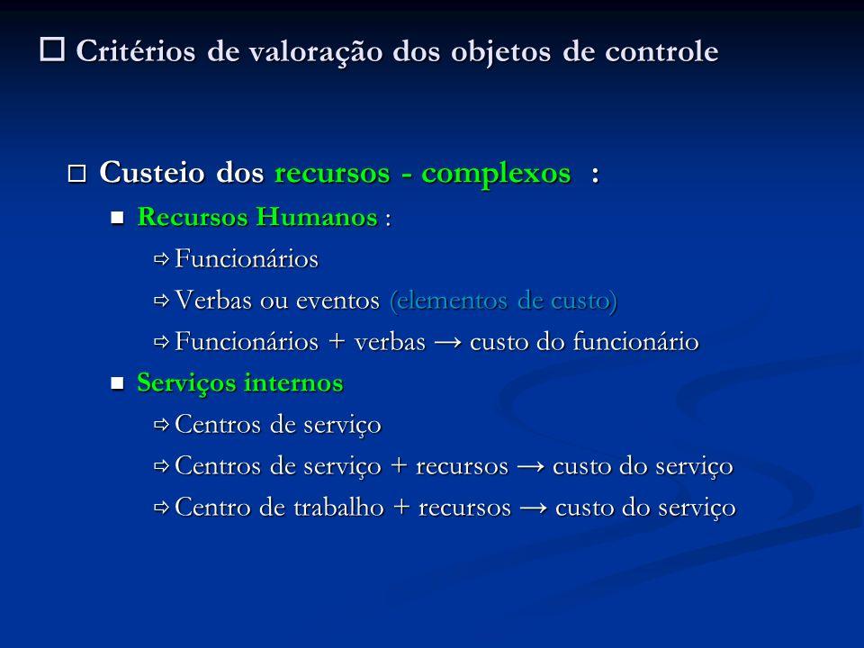Critérios de valoração dos objetos de controle