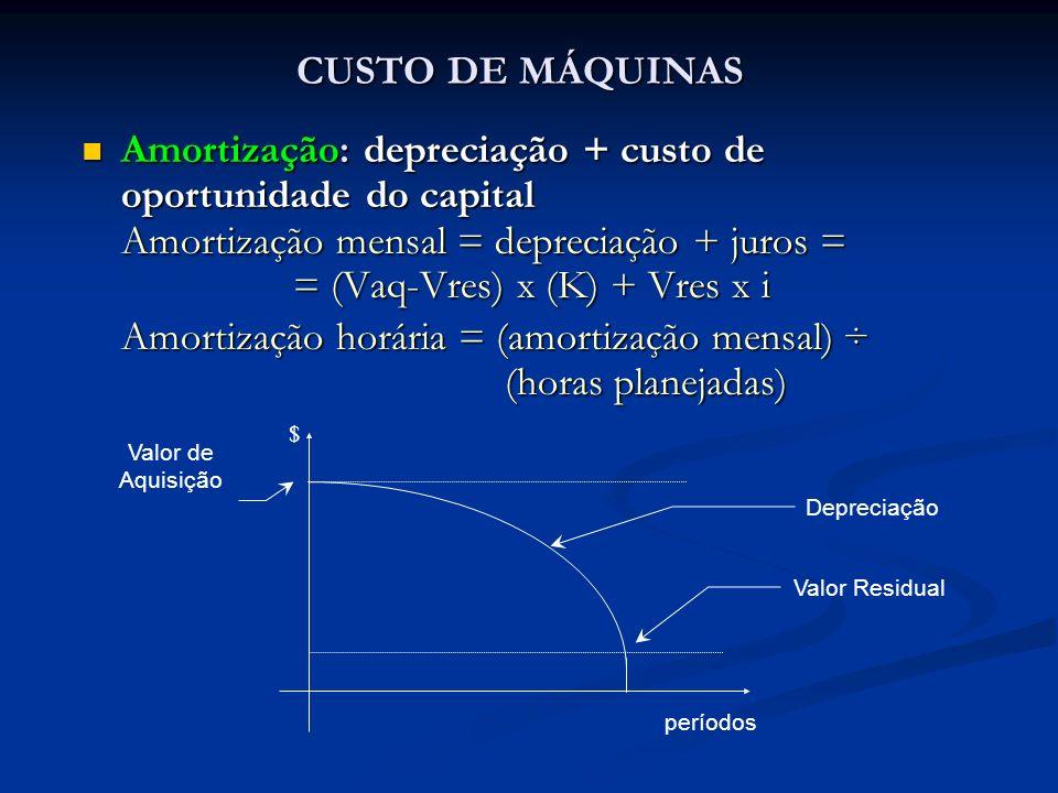 Amortização: depreciação + custo de oportunidade do capital