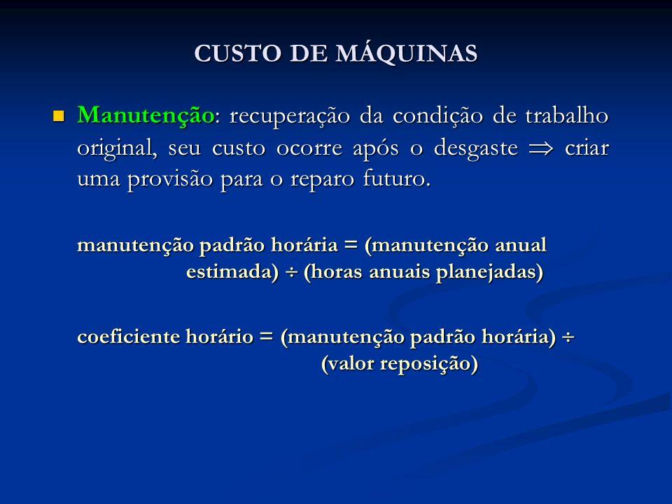 CUSTO DE MÁQUINAS