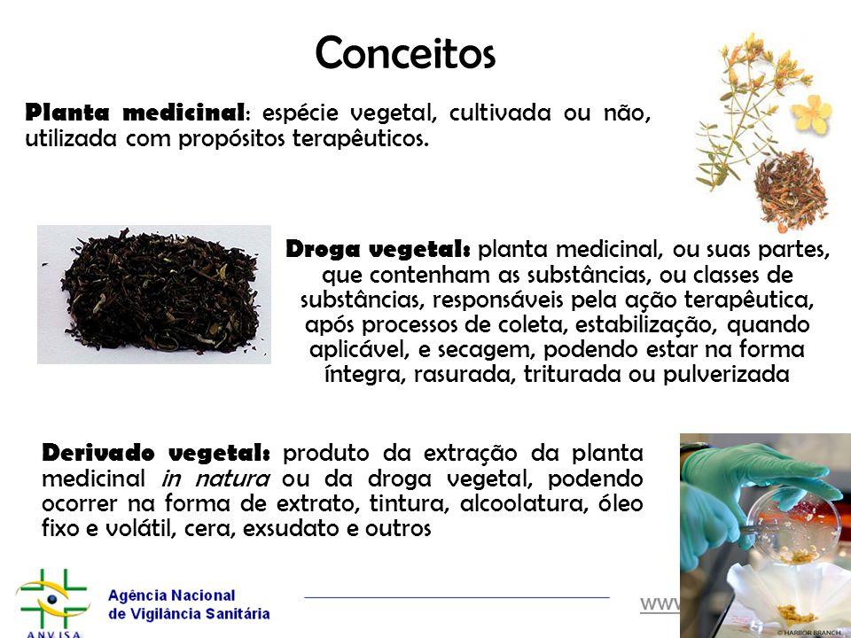 Conceitos Planta medicinal: espécie vegetal, cultivada ou não, utilizada com propósitos terapêuticos.