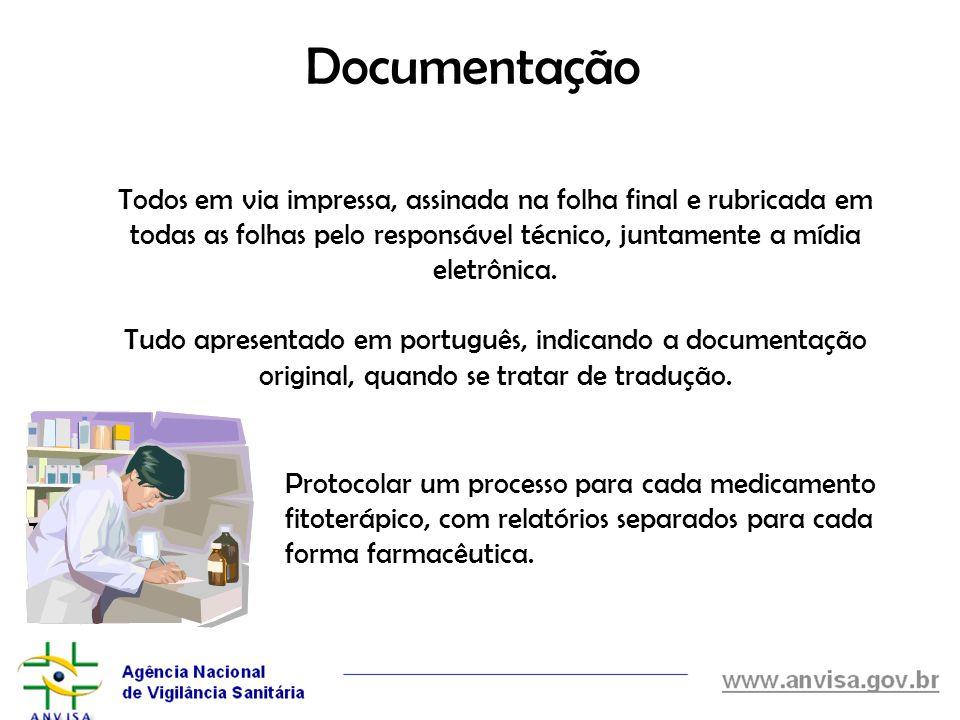 Documentação Todos em via impressa, assinada na folha final e rubricada em todas as folhas pelo responsável técnico, juntamente a mídia eletrônica.