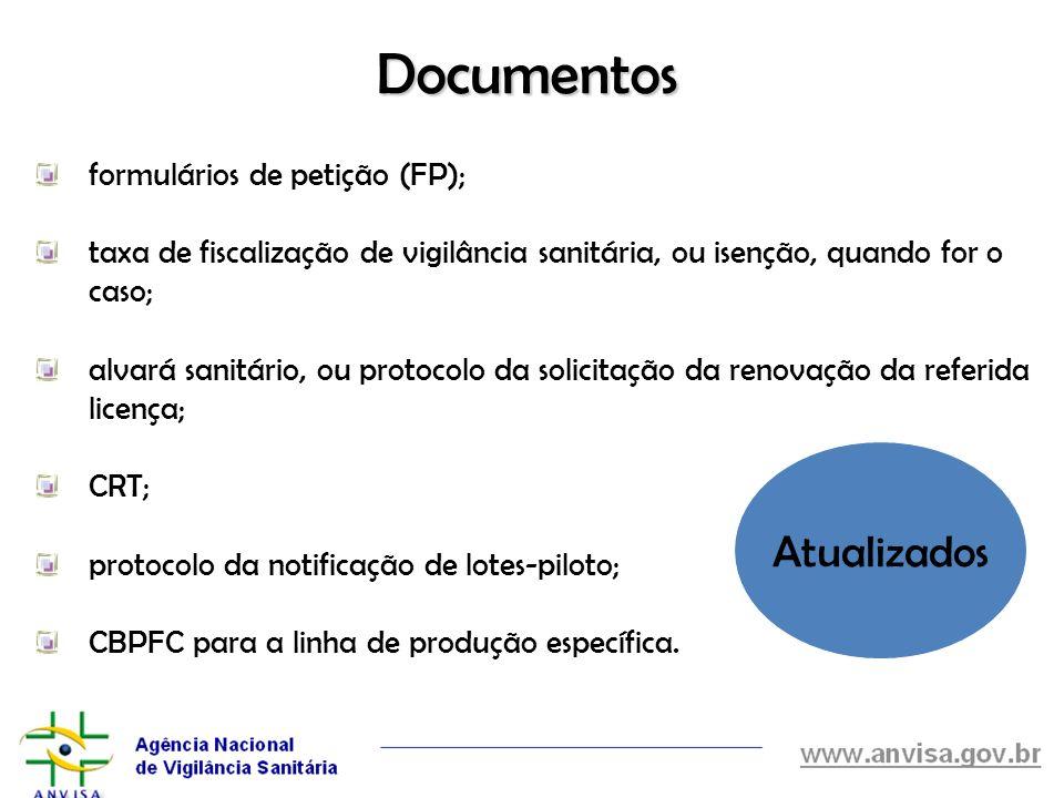 Documentos Atualizados formulários de petição (FP);