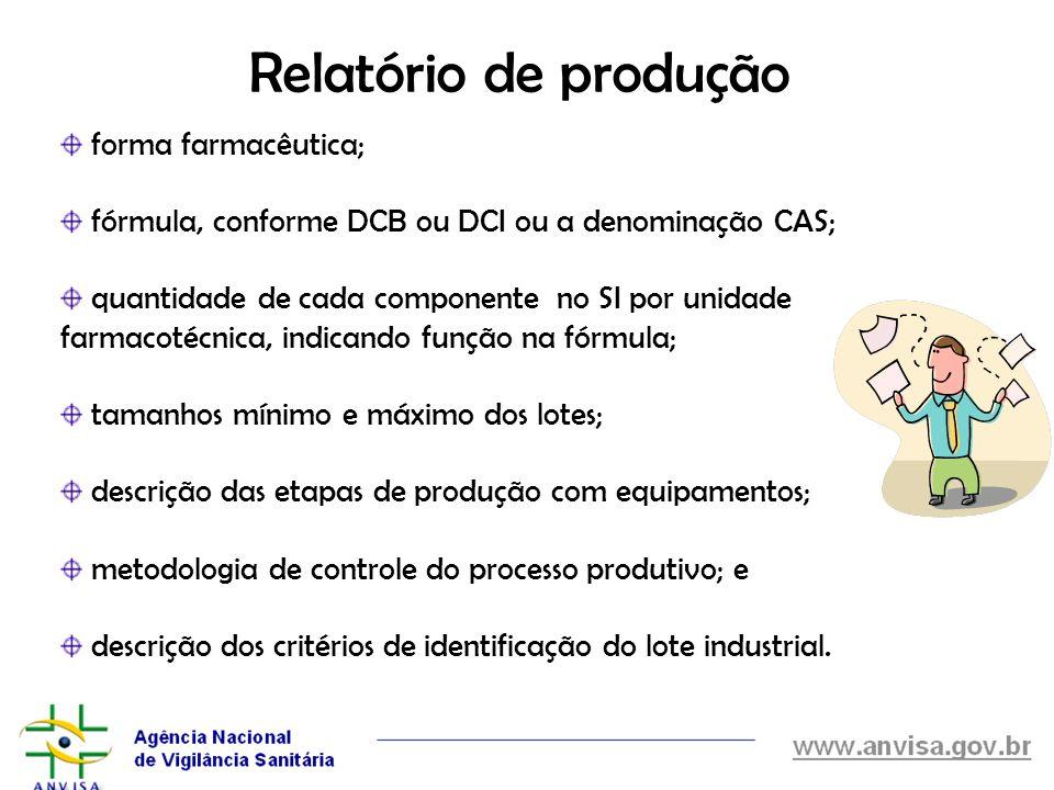 Relatório de produção forma farmacêutica;