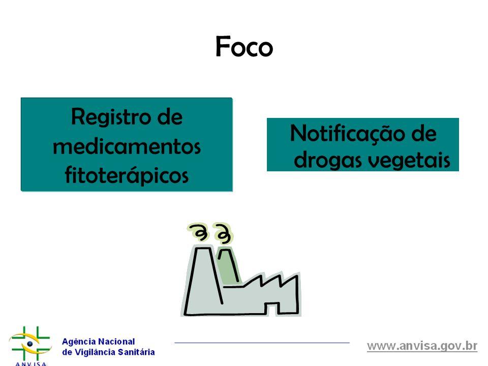 Foco Registro de medicamentos fitoterápicos