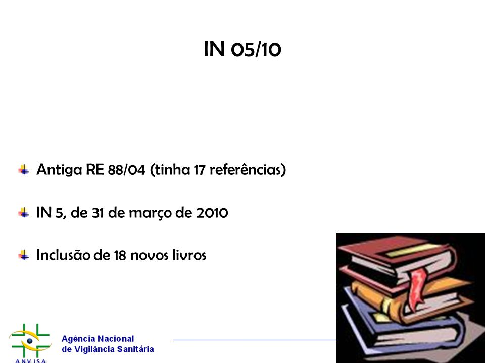 IN 05/10 Antiga RE 88/04 (tinha 17 referências)