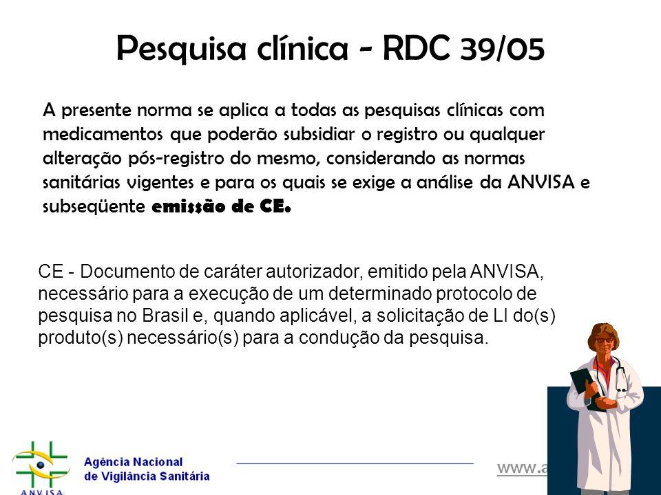 Pesquisa clínica - RDC 39/05