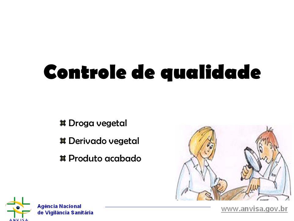 Controle de qualidade Droga vegetal Derivado vegetal Produto acabado