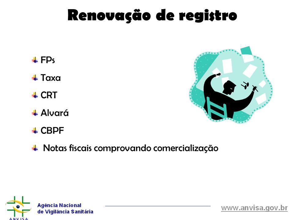 Renovação de registro FPs Taxa CRT Alvará CBPF