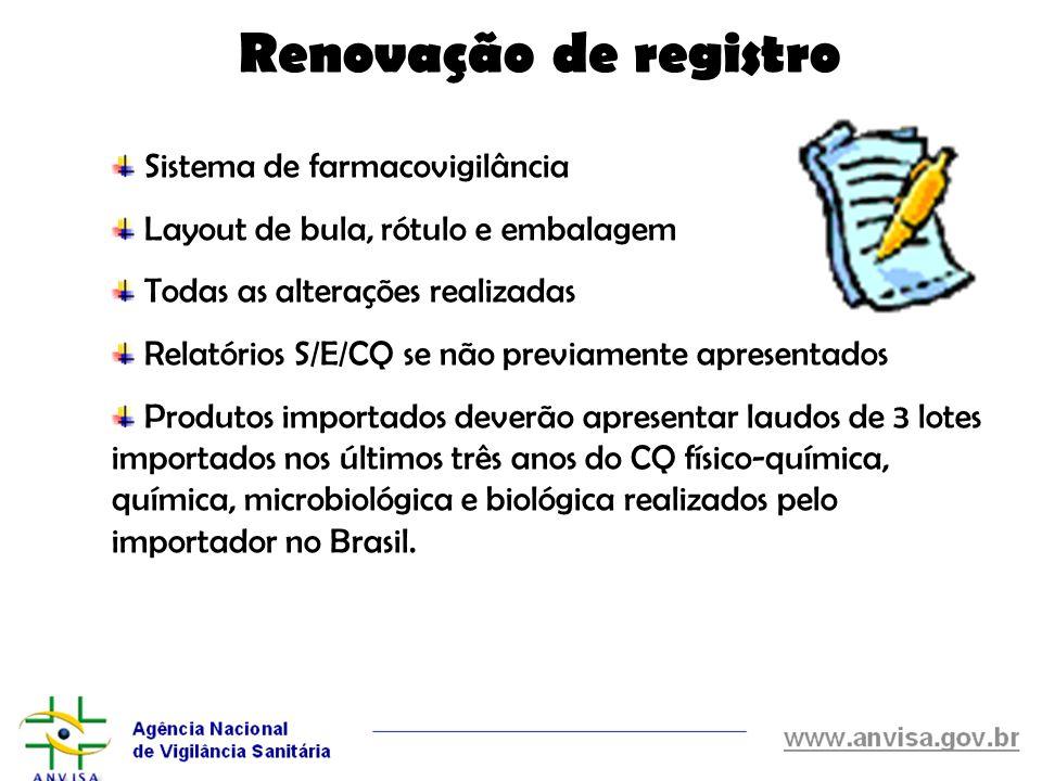 Renovação de registro Sistema de farmacovigilância