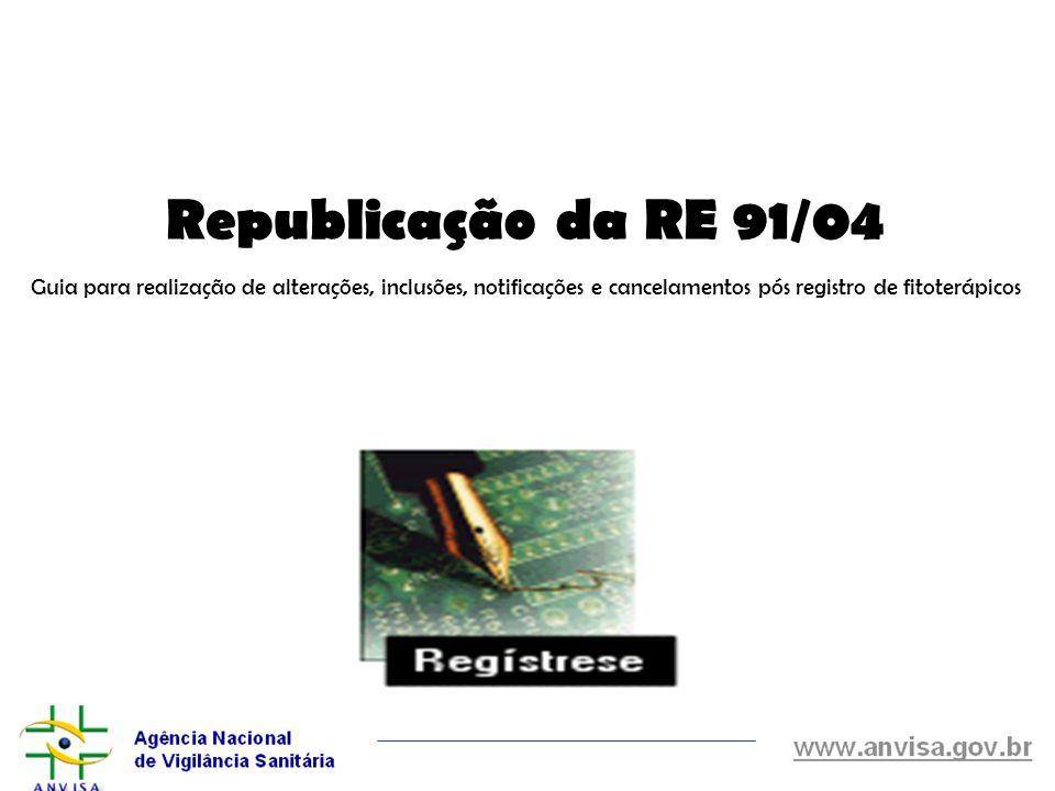 Republicação da RE 91/04 Guia para realização de alterações, inclusões, notificações e cancelamentos pós registro de fitoterápicos.