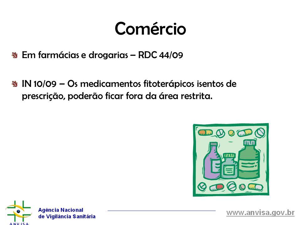 Comércio Em farmácias e drogarias – RDC 44/09