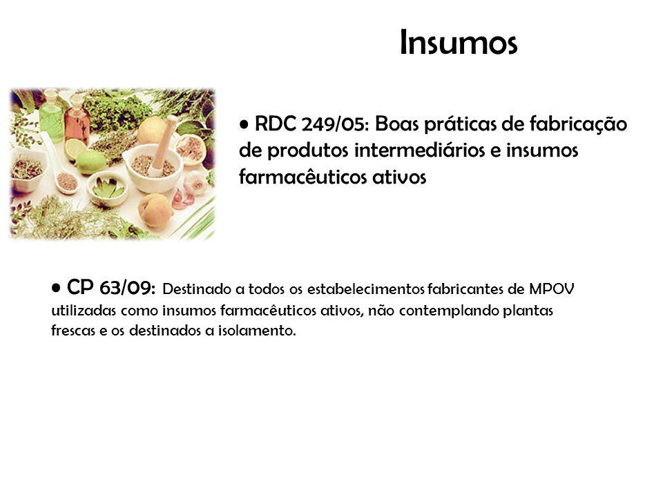 Insumos RDC 249/05: Boas práticas de fabricação de produtos intermediários e insumos farmacêuticos ativos.
