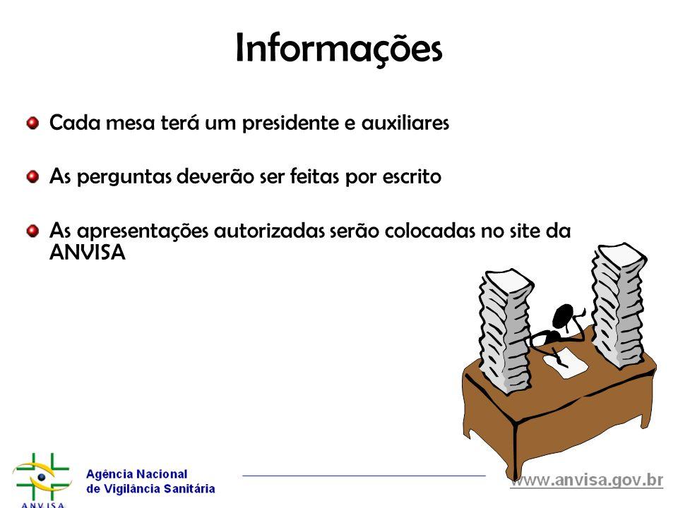 Informações Cada mesa terá um presidente e auxiliares