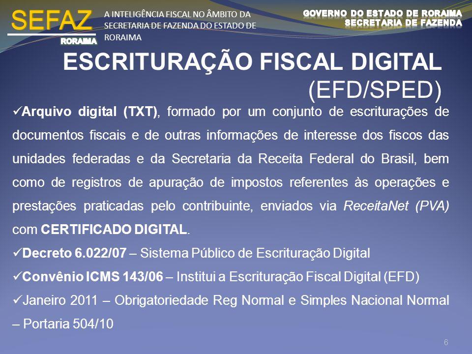 SEFAZ ESCRITURAÇÃO FISCAL DIGITAL (EFD/SPED)