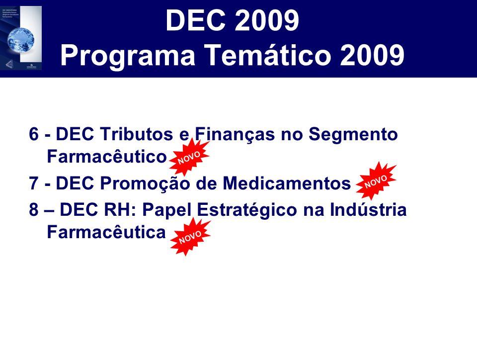 DEC 2009 Programa Temático 2009 6 - DEC Tributos e Finanças no Segmento Farmacêutico. 7 - DEC Promoção de Medicamentos.
