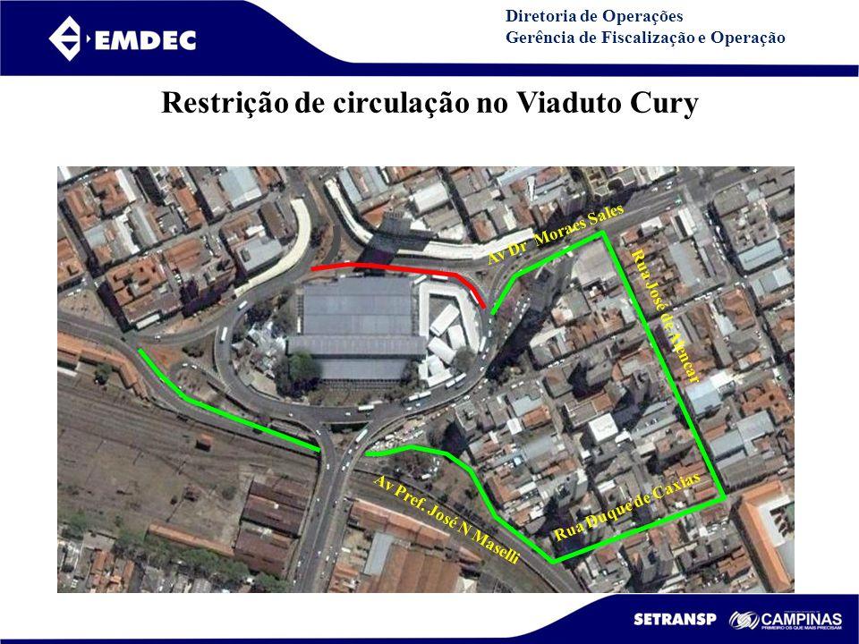 Restrição de circulação no Viaduto Cury