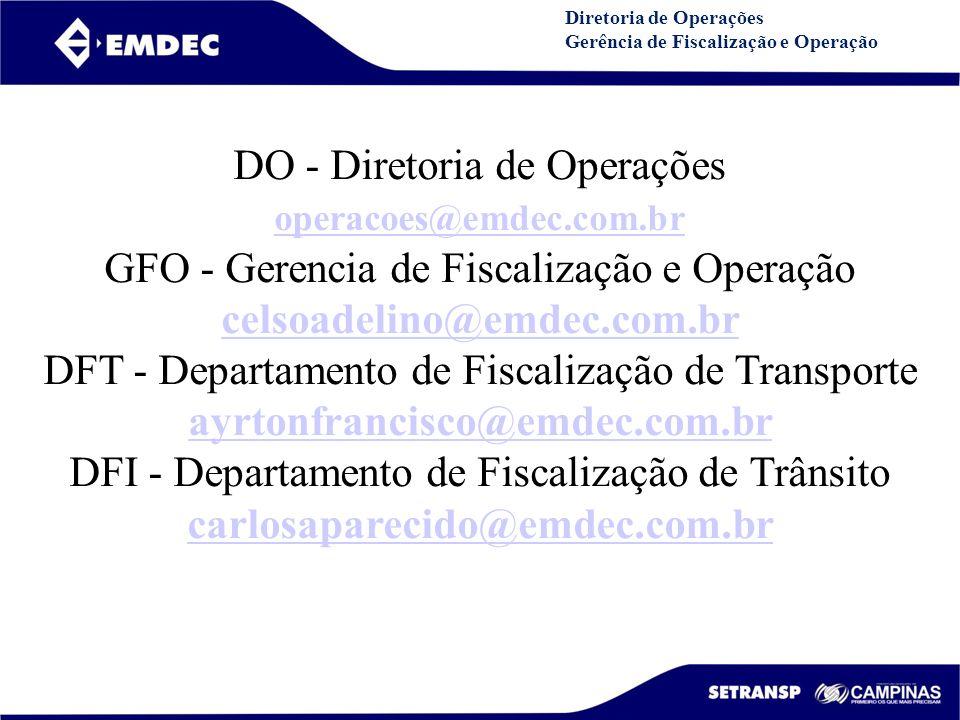 DO - Diretoria de Operações GFO - Gerencia de Fiscalização e Operação