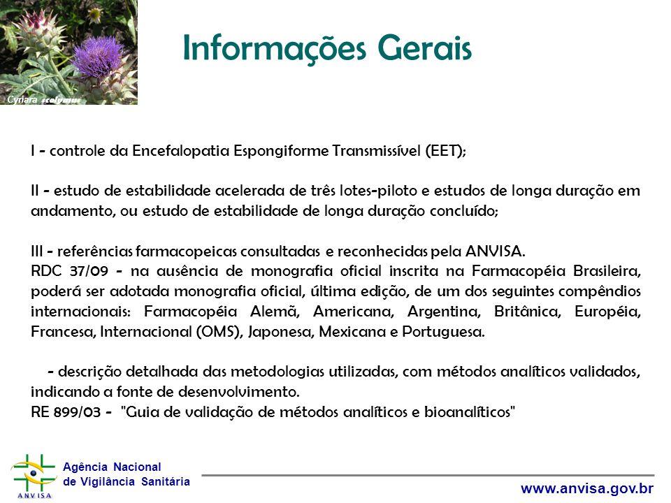 Informações Gerais Cynara scolymus. I - controle da Encefalopatia Espongiforme Transmissível (EET);
