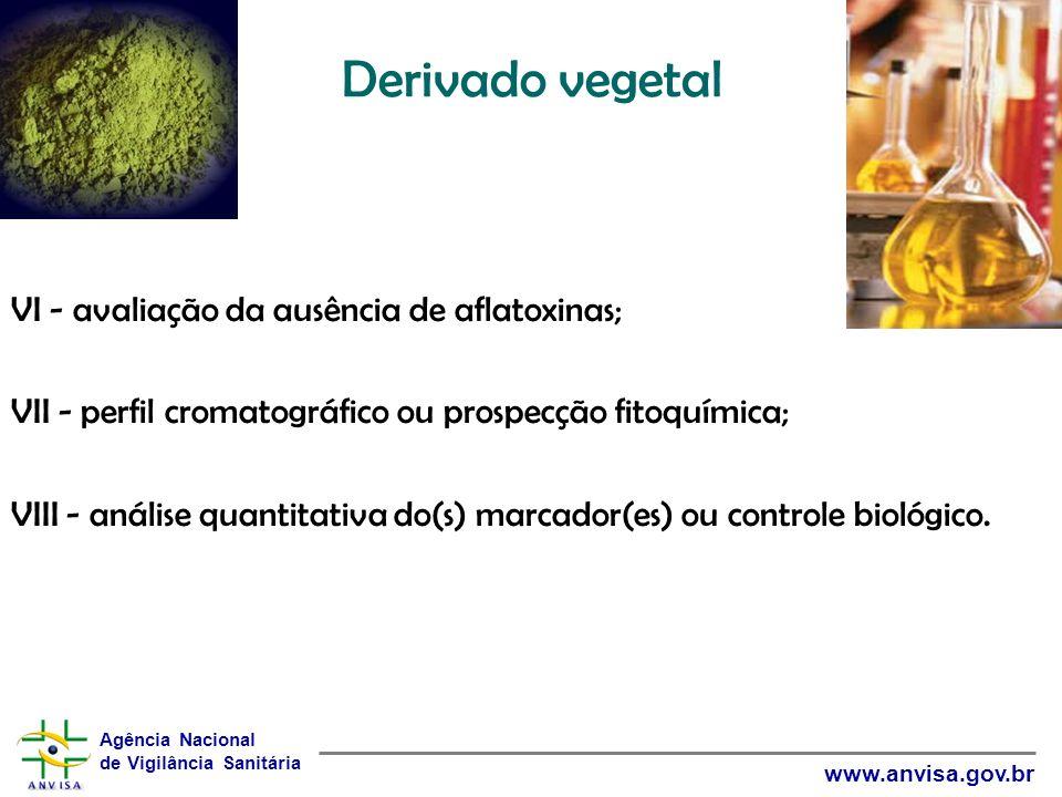 Derivado vegetal VI - avaliação da ausência de aflatoxinas;