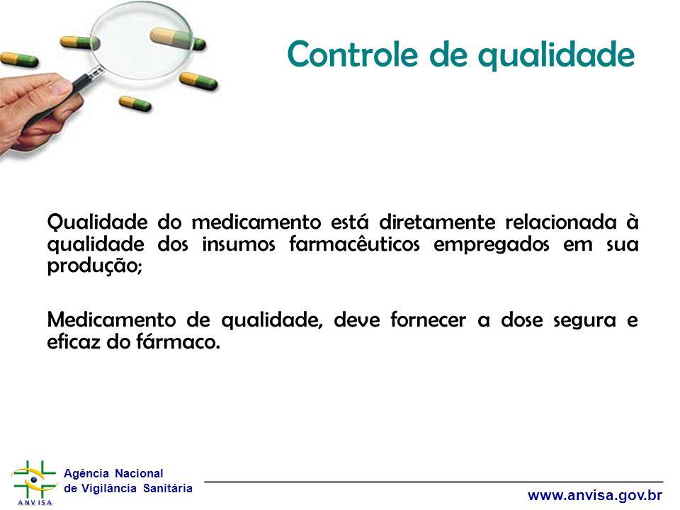 Controle de qualidade Qualidade do medicamento está diretamente relacionada à qualidade dos insumos farmacêuticos empregados em sua produção;