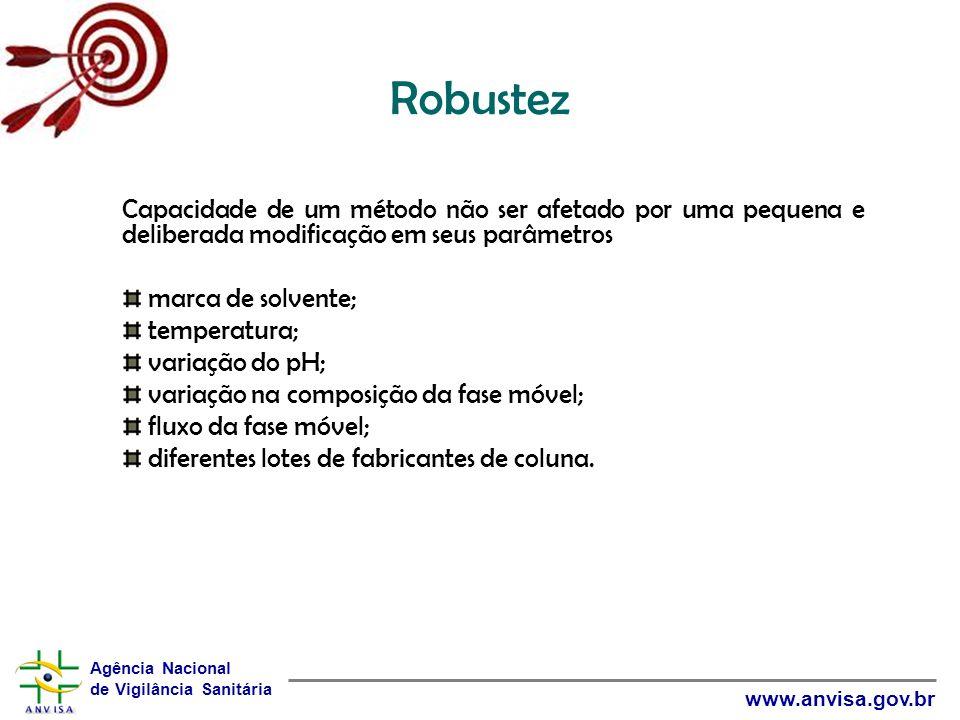 Robustez Capacidade de um método não ser afetado por uma pequena e deliberada modificação em seus parâmetros.