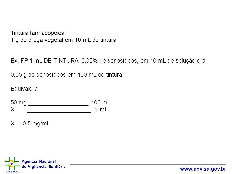 Tintura farmacopeica: 1 g de droga vegetal em 10 mL de tintura.