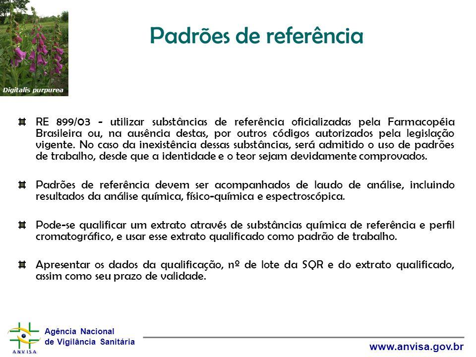 Padrões de referência Digitalis purpurea.