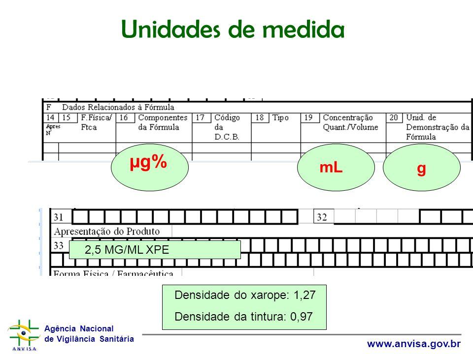 Unidades de medida µg% g mL 2,5 MG/ML XPE Densidade do xarope: 1,27